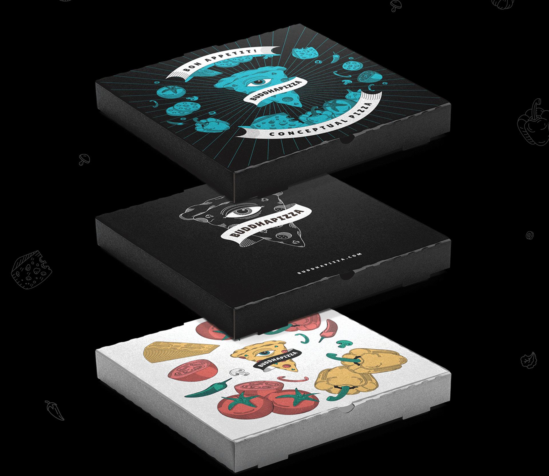 Дизайн упаковки для пиццы и всевидящее око доставка еды в Одессе Buddha Pizza | Solar Digital Будда